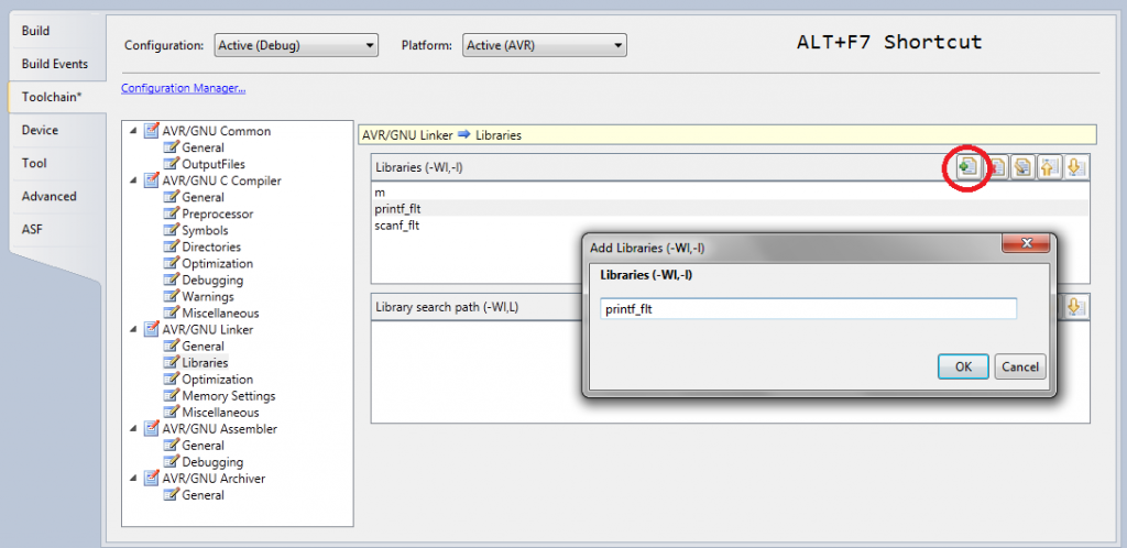 Floating-point printf Settings Atmel Studio 6