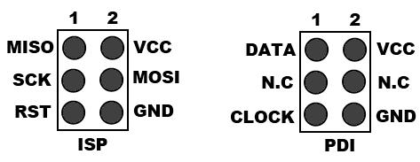 6-Pin PDI and ISP Stiftleiste Pinbelegung im Vergleich (Ansicht von Oben)